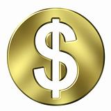 3D Golden Dollar Currency