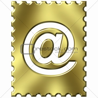 3d golden stamp with email symbol