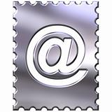 3d silver stamp with email symbol