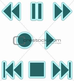 Aqua Glass Audio Buttons