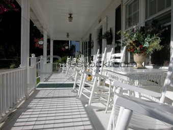 Classic White Wood Porch with Rocking Chairs