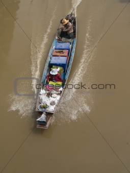 Classic, wooden boat in Thailand