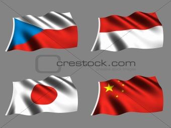 Flag Chinise Japanise Monaco Czech