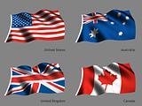Flag America England Canada Australia