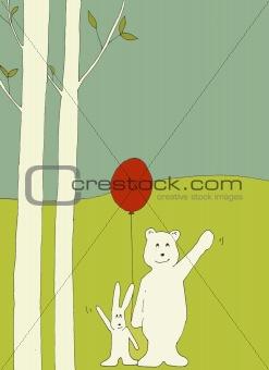 Bear and bunny waving