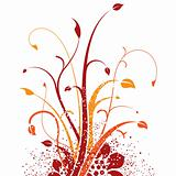Red and orange floral design