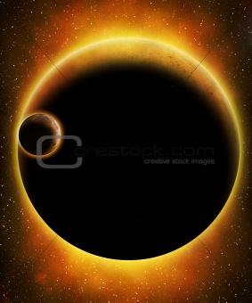 Glowing alien planet