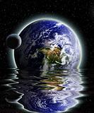 Moon and earth rising from the ocean