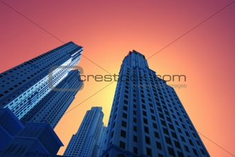 High blue skyscrapers