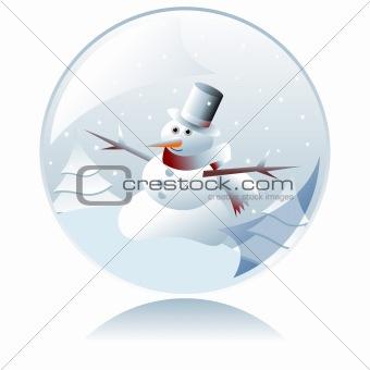 Christmas snowman crystal ball