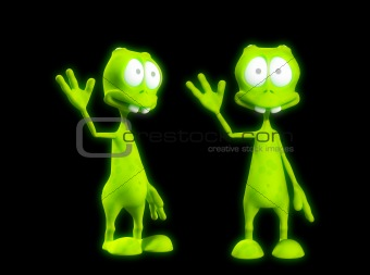Two Alien's Waving 4