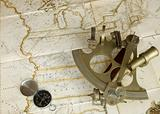 Map, sextant and compass