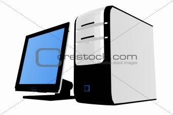 3d desktop computer - techno concept