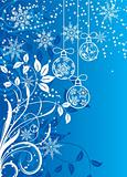 Christmas background with baubles, vector