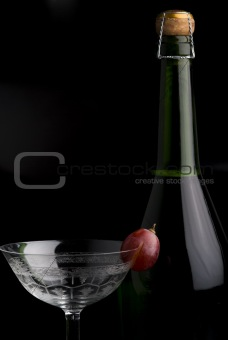 Champagne Bottle with a glass