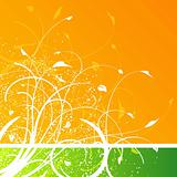 Floral design on orange and green background