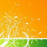 Floral design on orange and green background