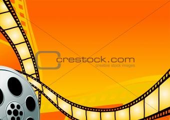 Cinema theme on the orange background