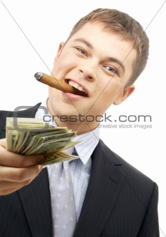 smoking gangster holding dollar bills