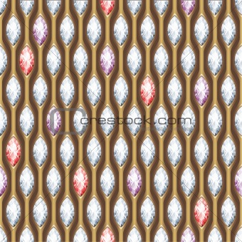 Diamond and gold seamless background. Vector.