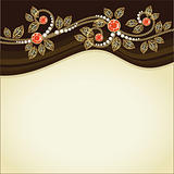 Ruby and gold decoration. Postcard. Vector.