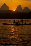 Karst Li River Boat Silhouette