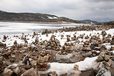 snow, ice and rock piles are arranged