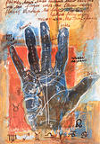 Mixed media painting of palm reading