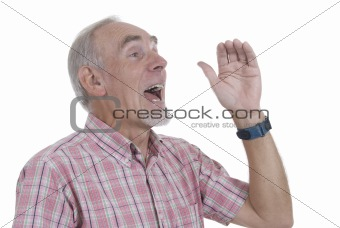 Old man shouting on white background