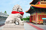 Chinese Lion Stone Sculpture in the Chinese Temple