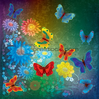 abstract grunge illustration with butterflies and flowers