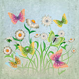 abstract grunge illustration with flowers and butterfly