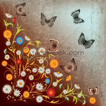 abstract grunge illustration flowers and butterfly