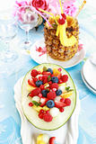 Fresh fruit salad with pineapple drink