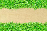 grass frame on burlap texture background