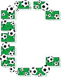 C, Alphabet Football letters made of soccer balls and fields