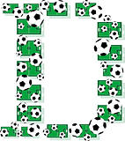 D, Alphabet Football letters made of soccer balls and fields