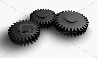 Grey gears steel working together