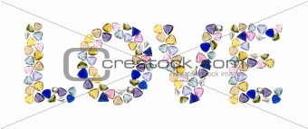 "Gemstones words, ""LOVE"". Isolated on white background."