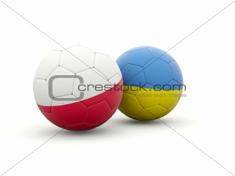 Poland and ukraine footballs