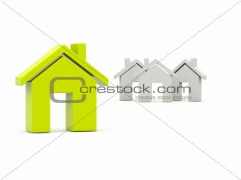 Green home over grey homes