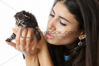 Woman holding a kitten