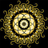 Golden mandala on the black