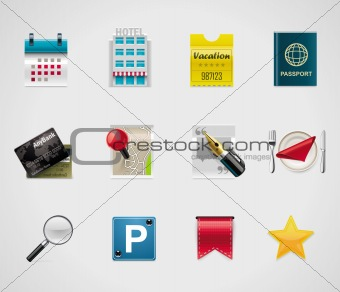 Vector hotel and traveling icons