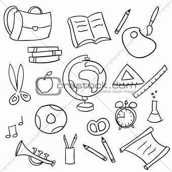 Back to school - set of school doodle