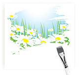 brush painting of camomile meadow, vector