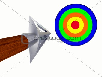 Arrow flying to the target