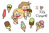 colored ice cream with two kids. vector