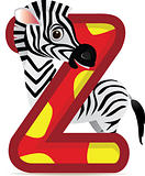 animal alphabet Z with Zebra cartoon