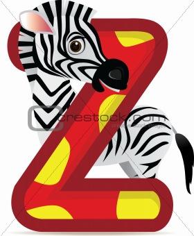 animal alphabet Z with Zebra cartoon